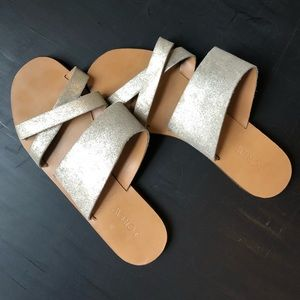 J. Crew gold leather sandals.